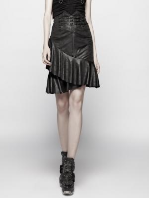Black Gothic Punk High Waist Stretch Half Skirt