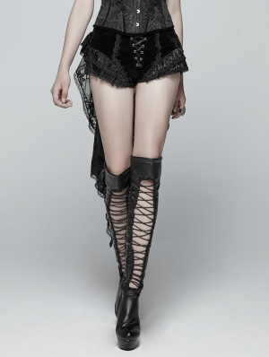 Black Gothic Swallow Tail Dress Shorts for Women