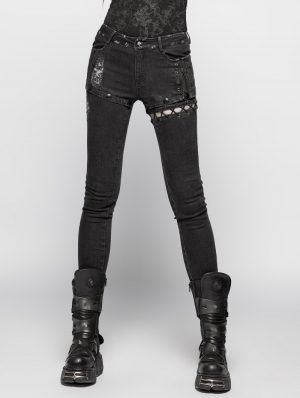 Black Gothic Punk Denim Trousers for Women
