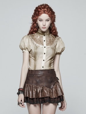 Iovry Steampunk Short Puff Sleeve Shirt for Women