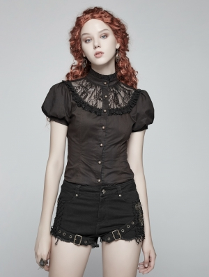 Black Steampunk Short Puff Sleeve Shirt for Women