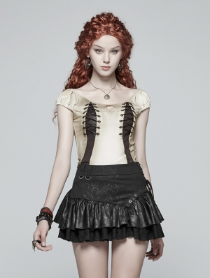 Iovry Steampunk Corns Short Sleeve T-Shirt for Women