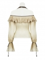Iovry Steampunk Off-the-Shoulder Ruffles Long Sleeve T-Shirt for Women