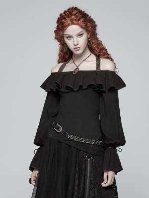 Black Steampunk Off-the-Shoulder Ruffles Long Sleeve T-Shirt for Women
