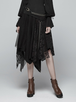 Black Steampunk Asymmetric Half Skirt