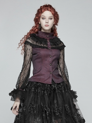 Red Steampunk Lace Long Sleeves Shirt for Women