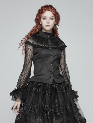 Black Steampunk Lace Long Sleeves Shirt for Women