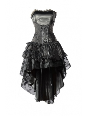 Black Corset High-Low Layer Skirt Gothic Party Dress