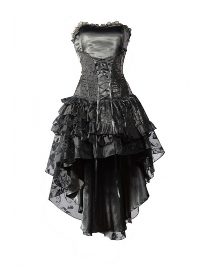 Black Corset High Low Layer Skirt Gothic Party Dress Devilnight
