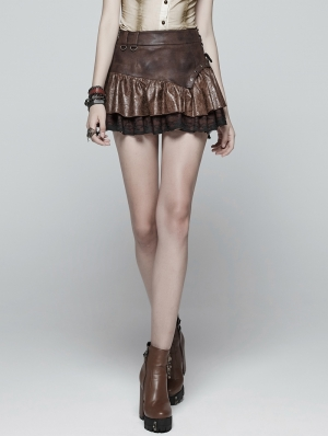 Brown Steampunk Mini skirt