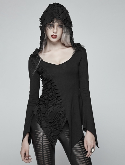 Gothic Dark Hooded Asymmetric Long Sleeve T-shirt for Women