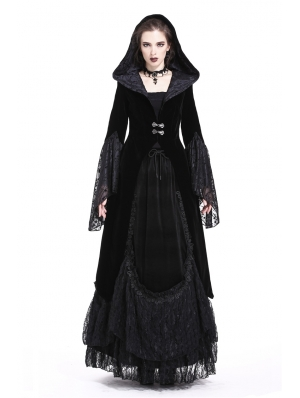 Black Vintage Gothic Velvet Hooded Jacket for Women