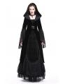 Black Vintage Gothic Velvet Hooded Jacket for Women