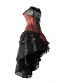 Red Corset High-Low Layer Skirt Gothic Party Dress
