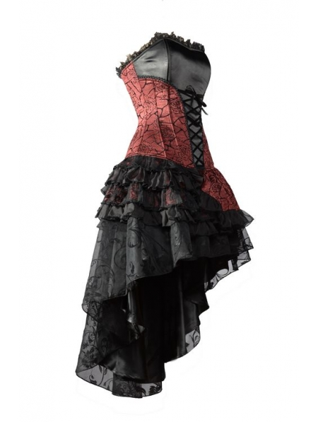 Red Corset High Low Layer Skirt Gothic Party Dress