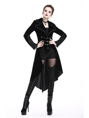 Black Gothic Fishtail Long Velvet Jacket for Women