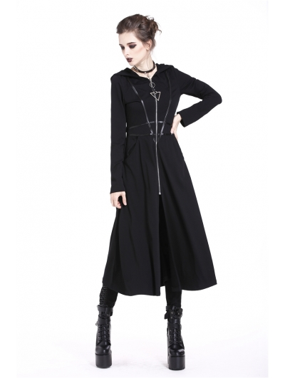 Black Gothic Punk Triangle Long Jacket for Women
