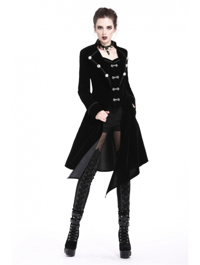 Black Gothic Velvet Detachable Long to Short Jacket for Women