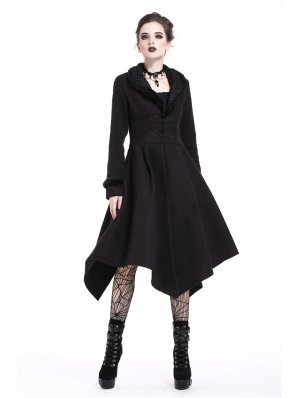 Black Gothic Elegant Lady Long Winter Coat