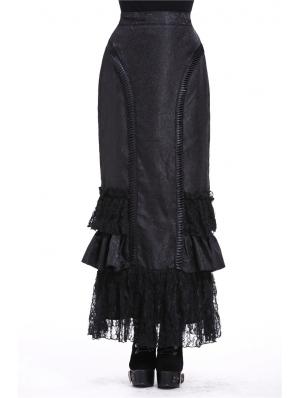 Black Elegant Gothic Frilly Long Prom Party Skirt