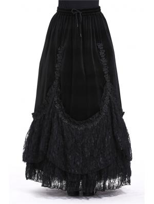 Black Elegant Gothic Velvet Long Prom Party Skirt