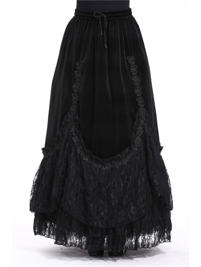 Black Elegant Gothic Velvet Long Prom Party Skirt