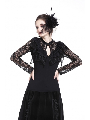 Black Gothic Sexy Lace Long Sleeves T-Shirt for Women