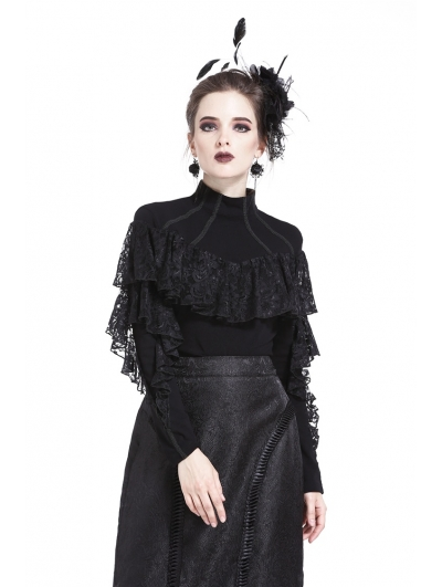 Black Gothic Romantic High-Collar Lacey Knitted T-Shirt for Women