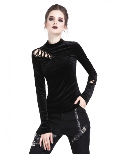 Black Gothic Punk Long Sleeves Velvet T-Shirt for Women