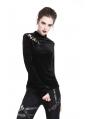 Black Gothic Punk Long Sleeves Velvet T-Shirt for Women