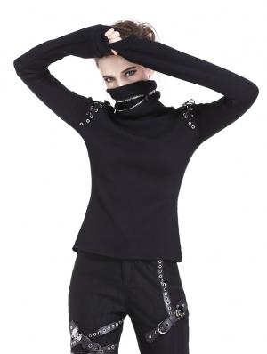 Black Gothic Punk Long Sleeves T-Shirt for Women