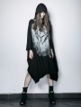 Gothic Punk Black Bone Ghost Film Printing Loose Bat Sleeve Women's T-Shirt With Cape