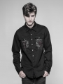 Black Gothic Punk Keel Pattern Shirt for Men