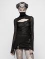 Black Gothic Slim Punk Long Sleeves T-Shirt for Women