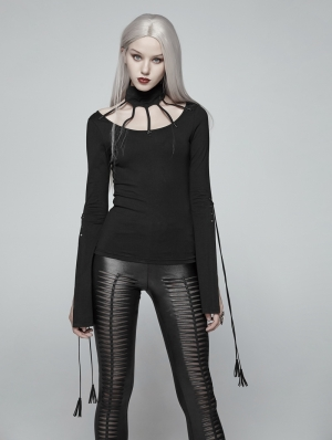 Black Gothic Bat Messenger Knitted Long Sleeves T-Shirt for Women