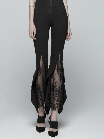 Black Gothic Flared Lace Legging Pants for Women
