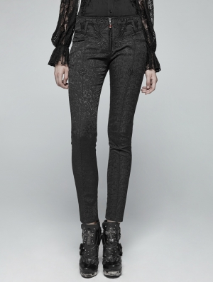 Black Vintage Gothic Jacquard Trousers for Women