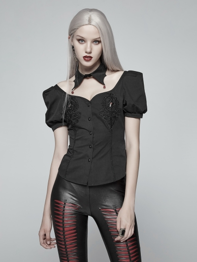 Black Gothic Sexy Short Sleeve Shirt for Women