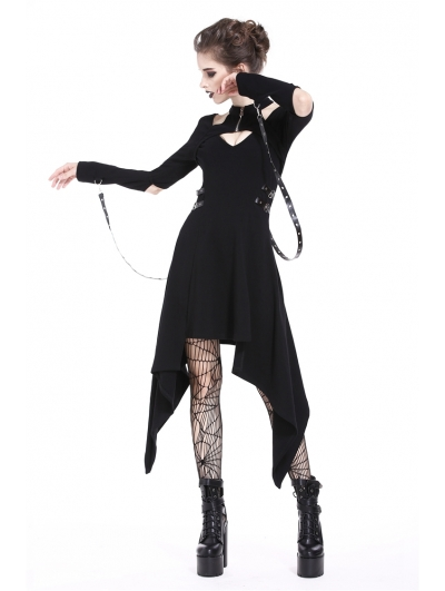 Black Gothic Punk Metal Belt Asymmetric Dress