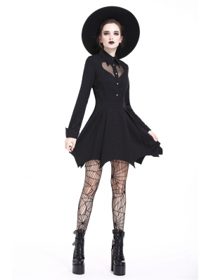 Black Gothic Heart Long Sleeve Short Dress