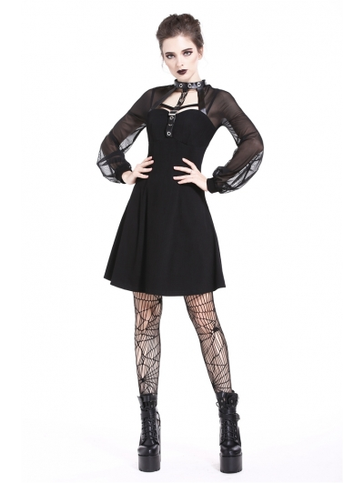 Black Gothic Punk Harness Short Dress