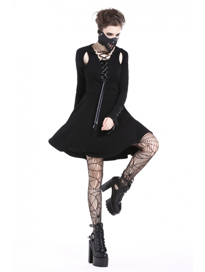 Black Gothic Punk Hooded Short Street Dress