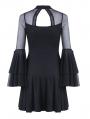 Black Cute Gothic Mesh Long Sleeves Short Dress