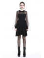 Black Gothic Mesh A-Line Short Dress