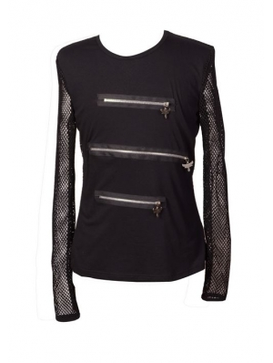 Black Long Net Sleeves Mens Gothic T-Shirt with Zippers