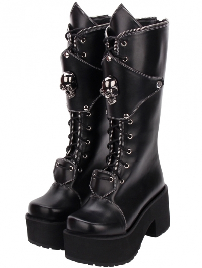 womens wedged gothic punk retro platform boots