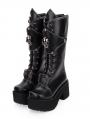 Black Gothic Punk Skull Platform Boots for Women