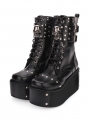 Black Gothic Punk Skull Buckle Belt Platform Mid-Calf Boots for Women