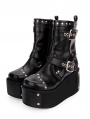 Black Gothic Punk Buckle Belt Platform Mid-Calf Boots for Women