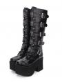 Black Gothic Punk Lace Up Cross Belt Knee Platform Boots for Women